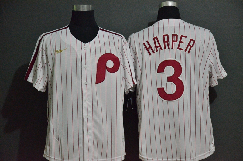 Men's Philadelphia Phillies #3 Bryce Harper White Pinstripe Cool Base Cooperstown Collection Nike Jersey