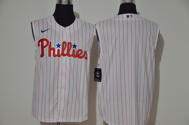 Men's Philadelphia Phillies Blank White 2020 Cool and Refreshing Sleeveless Fan Stitched MLB Nike Jersey