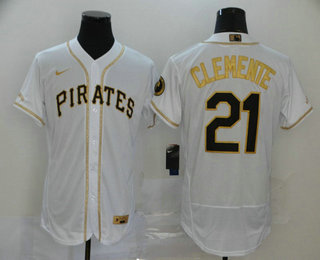 Men's Pittsburgh Pirates #21 Roberto Clemente White With Gold Stitched MLB Flex Base Nike Jersey