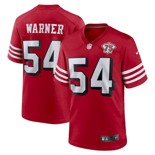 Men's San Francisco 49ers #54 Fred Warner Scarlet 75th Anniversary Red Jersey