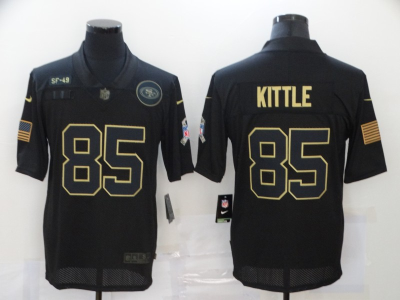 Men's San Francisco 49ers #85 George Kittle Black 2020 Salute To Service Stitched NFL Nike Limited Jersey