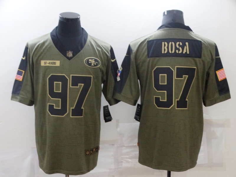 Men's San Francisco 49ers #97 Nick Bosa Nike Olive 2021 Salute To Service Limited Player  Jersey