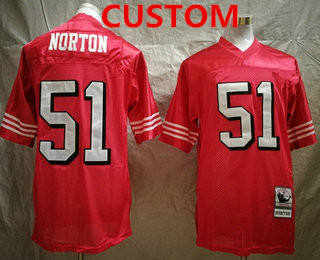 Men's San Francisco 49ers Custom Red Throwback Mitchell & Ness Jersey