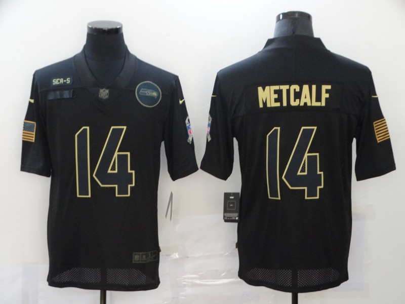Men's Seattle Seahawks #14 D.K. Metcalf Black 2020 Salute To Service Stitched NFL Nike Limited Jersey