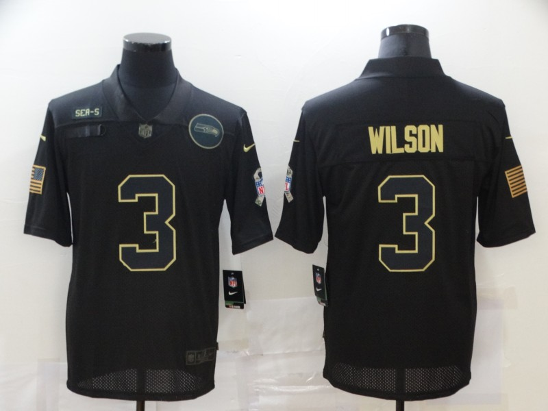 Men's Seattle Seahawks #3 Russell Wilson Black 2020 Salute To Service Stitched NFL Nike Limited Jersey