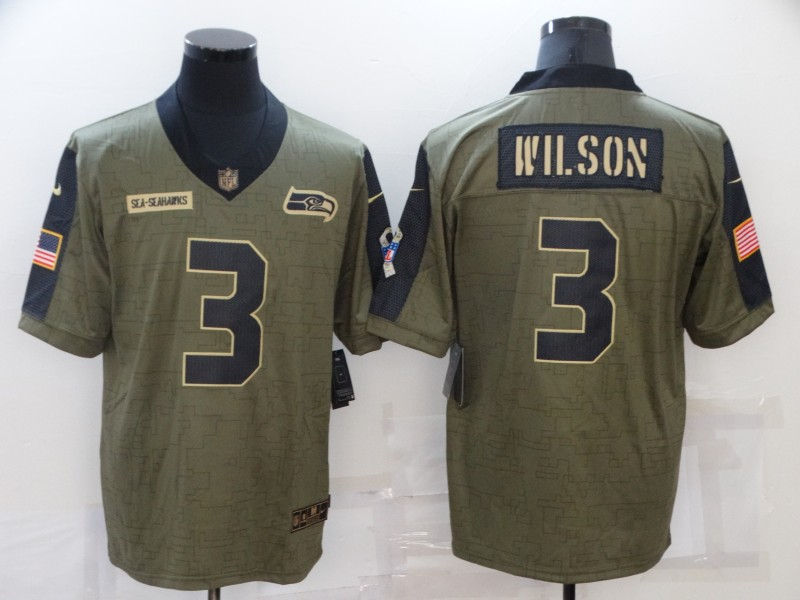 Men's Seattle Seahawks #3 Russell Wilson Nike Olive 2021 Salute To Service Limited Player  Jersey