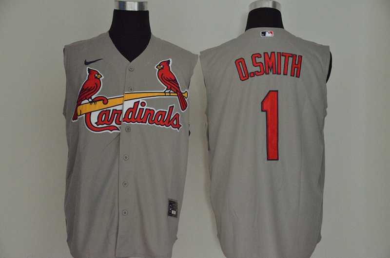 Men's St. Louis Cardinals #1 Ozzie Smith Gray 2020 Cool and Refreshing Sleeveless Fan Stitched MLB Nike Jersey