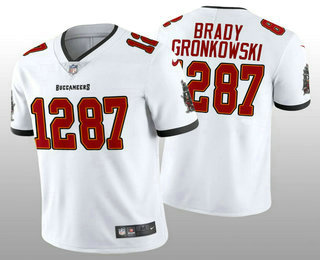 Men's Tampa Bay Buccaneers #12 Tom Brady #87 Rob Gronkowski CP Player White Vapor Untouchable Stitched Nike Limited NFL Jersey