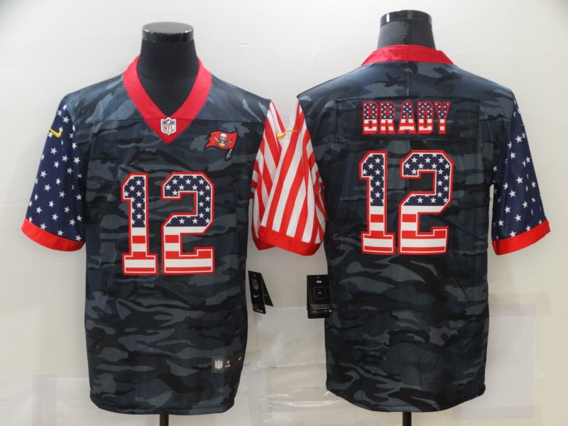 Men's Tampa Bay Buccaneers #12 Tom Brady USA Camo 2020 Salute To Service Stitched NFL Nike Limited Jersey