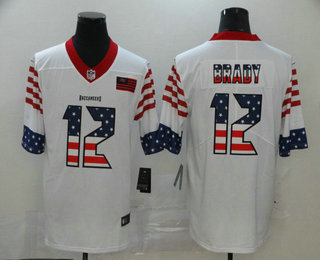 Men's Tampa Bay Buccaneers #12 Tom Brady White Independence Day Stars & Stripes Jersey