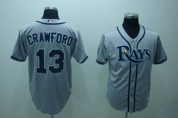 Men's Tampa Bay Rays #13 Carl Crawford Gray Road Stitched MLB Majestic Cool Base Jersey