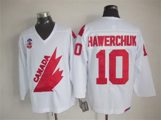 Men's Team Canada #10 Dale Hawerchuk 1991 Olympic White CCM Vintage Throwback Jersey