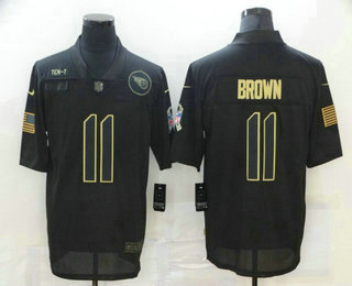Men's Tennessee Titans #11 A.J. Brown Black 2020 Salute To Service Stitched NFL Nike Limited Jersey