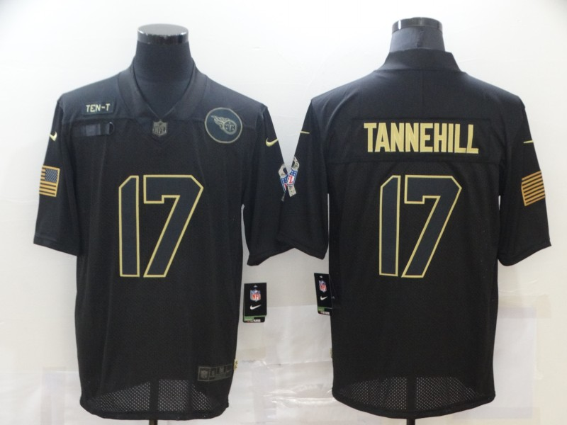 Men's Tennessee Titans #17 Ryan Tannehill Black 2020 Salute To Service Stitched NFL Nike Limited Jersey