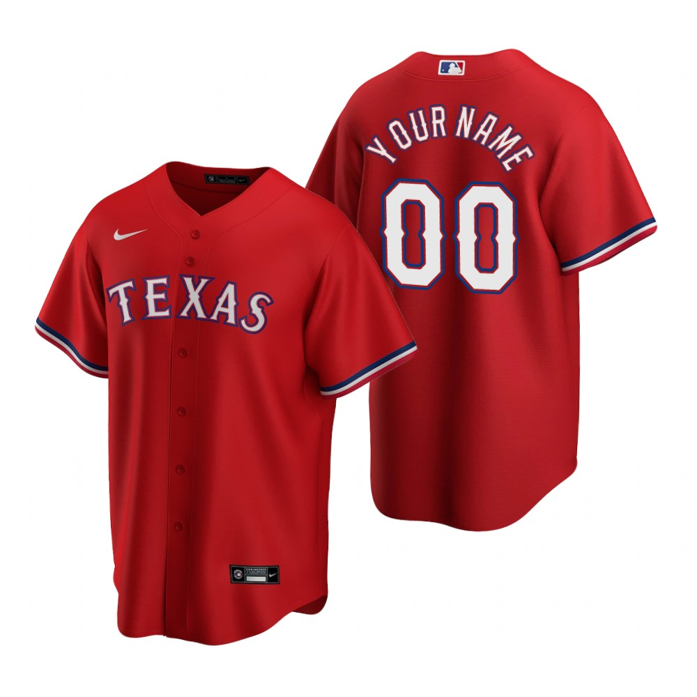 Men's Texas Rangers Custom Nike Red 2020 Stitched MLB Cool Base Jersey