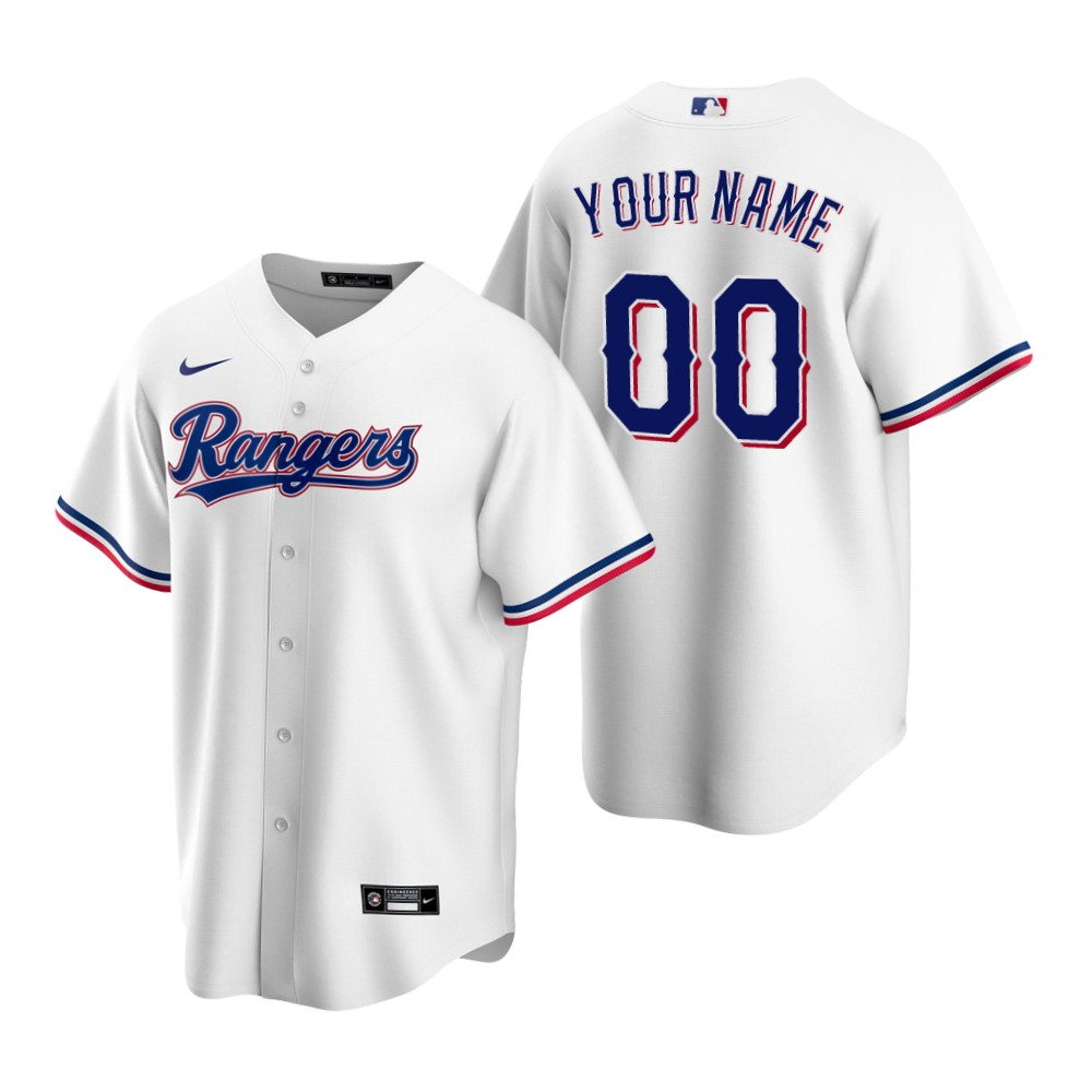 Men's Texas Rangers Custom Nike White Stitched MLB Cool Base Home Jersey