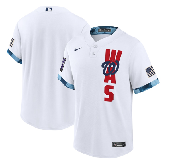 Men's Washington Nationals Blank 2021 White All-Star Cool Base Stitched MLB Jersey