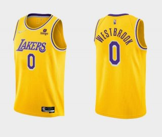 Men's Yellow Los Angeles Lakers #0 Russell Westbrook bibigo Stitched Basketball Jersey
