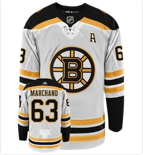 Men's brad marchand with A patch boston bruins #63 adidas authentic Away white nhl hockey jersey