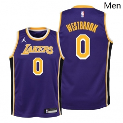 Men Lakers Russell Westbrook 2021 statement edition youth purple jersey