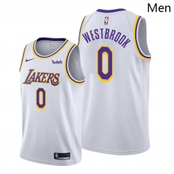 Men Lakers Russell Westbrook 2021 trade white association edition jersey