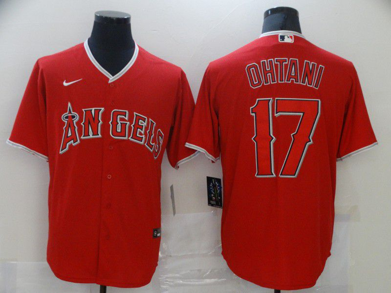 Men Los Angeles Angels 17 Ohtani Red Game 2021 Nike MLB Jersey