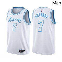 Men Los Angeles Lakers #7 Carmelo Anthony City Edition White 2021 Stitched NBA Jersey