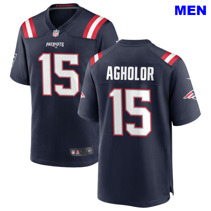 Men New England Patriots #15 Nelson Agholor Navy Home 2021 Vapor Limited Football Jersey