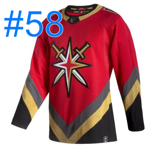 Men Vegas Golden Knights #58 VEGAS STRONG Reverse Retro Red Fourth Authentic 2020-21 Jersey