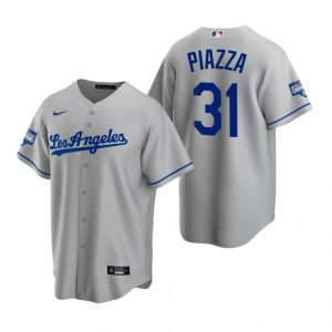 Men's Los Angeles Dodgers #31 Mike Piazza Gray 2020 World Series Champions Road Replica Jersey
