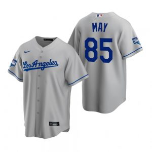 Men's Los Angeles Dodgers #85 Dustin May Gray 2020 World Series Champions Road Replica Jersey