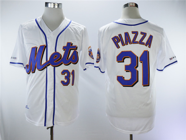 Mets 31 Mike Piazza White Throwback Jersey