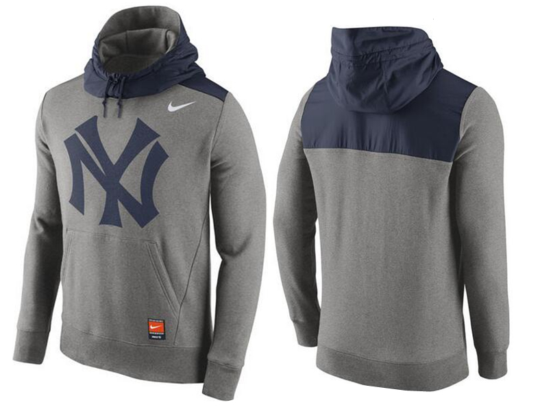 Nike New York Yankees Grey Cooperstown Collection Hybrid Pullover Hoodie02