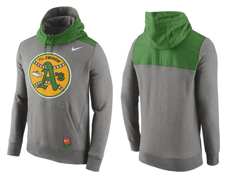 Nike Oakland Athletics Grey Cooperstown Collection Hybrid Pullover Hoodie