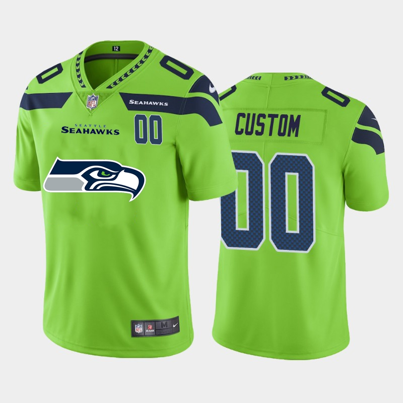 Nike Seattle Seahawks Customized Green Team Big Logo Number Vapor Untouchable Limited Jersey