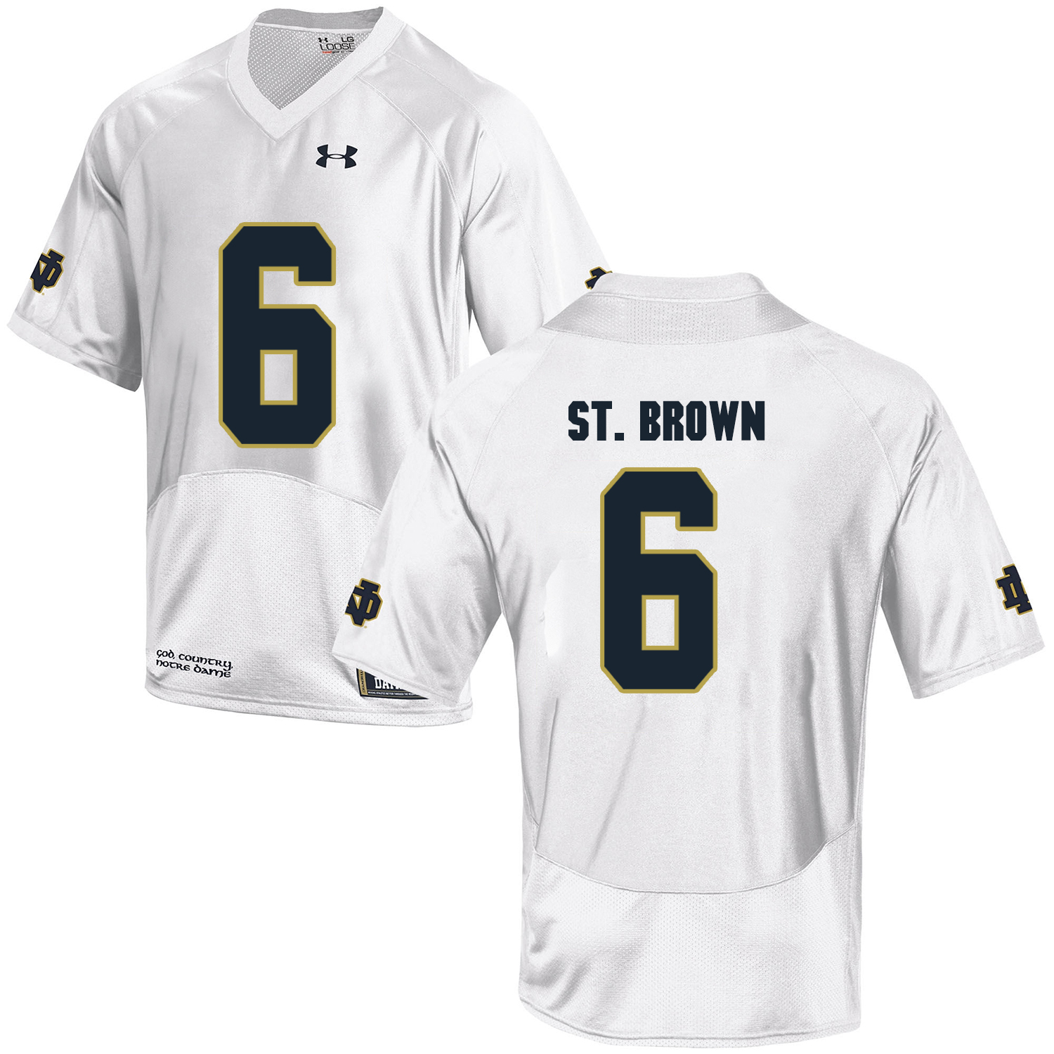 Notre Dame Fighting Irish 6 Equanimeous St. Brown White College Football Jersey