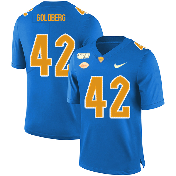 Pittsburgh Panthers 42 Marshall Goldberg Blue 150th Anniversary Patch Nike College Football Jersey