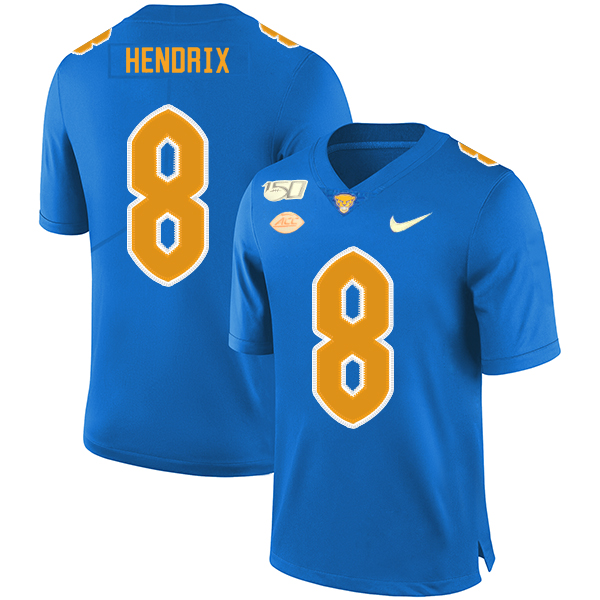 Pittsburgh Panthers 8 Dewayne Hendrix Blue 150th Anniversary Patch Nike College Football Jersey
