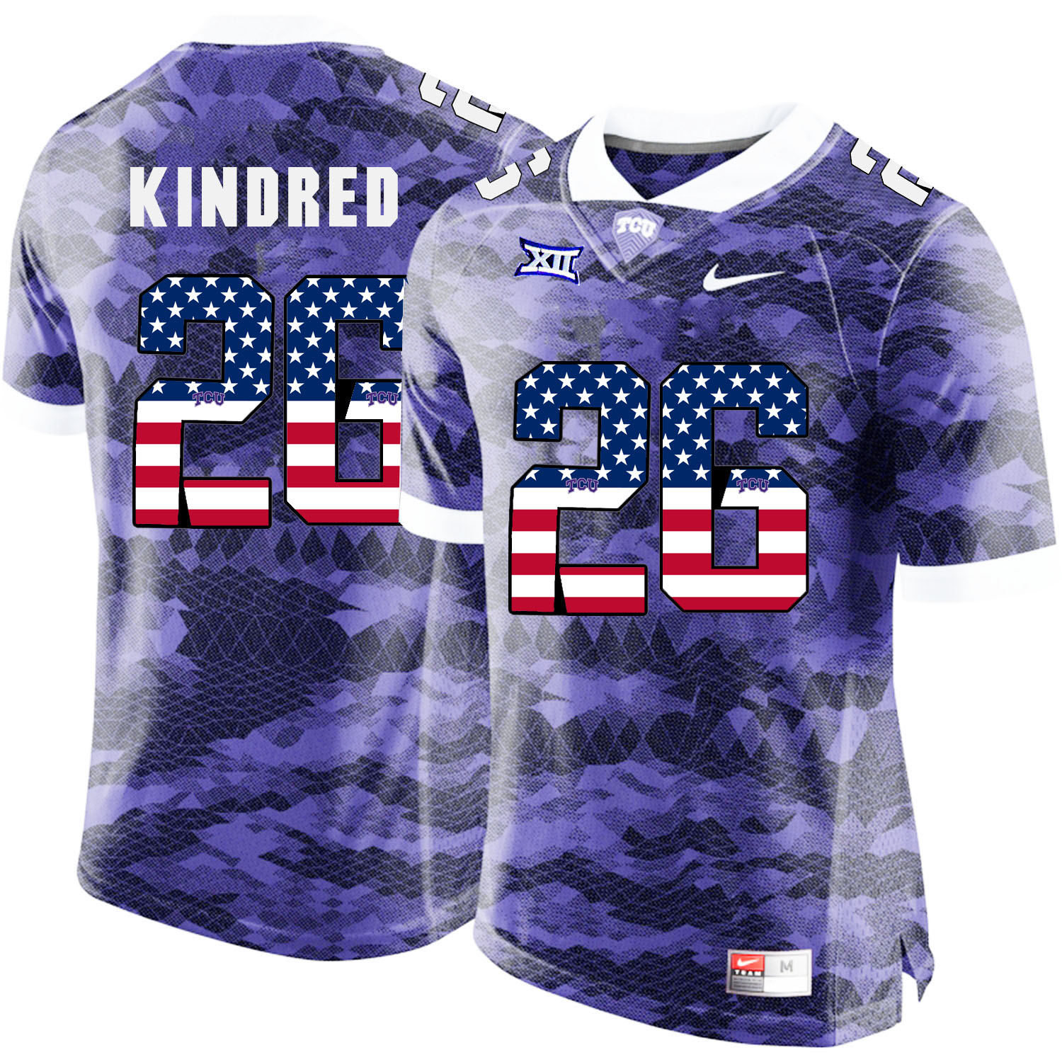 TCU Horned Frogs 26 Derrick Kindred Purple USA Flag College Football Jersey