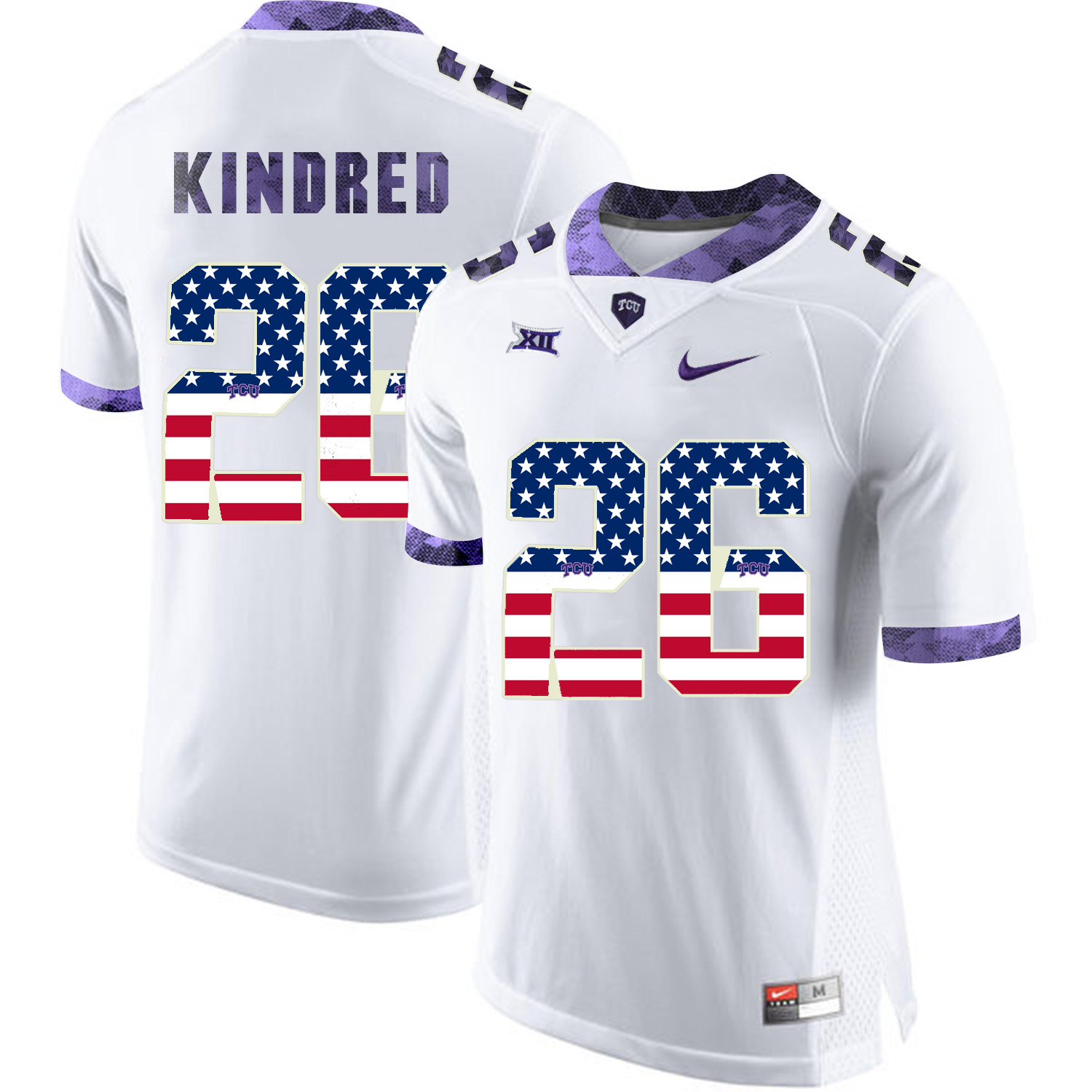 TCU Horned Frogs 26 Derrick Kindred White USA Flag College Football Jersey