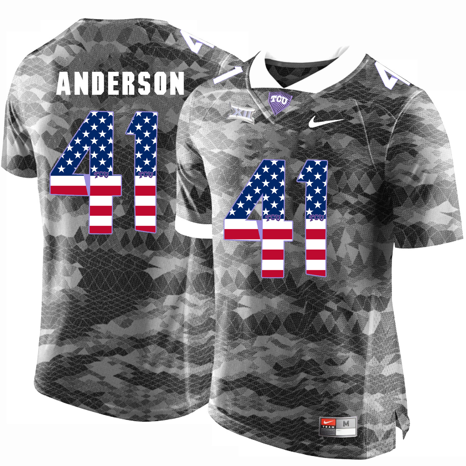 TCU Horned Frogs 41 Jonathan Anderson Gray USA Flag College Football Jersey