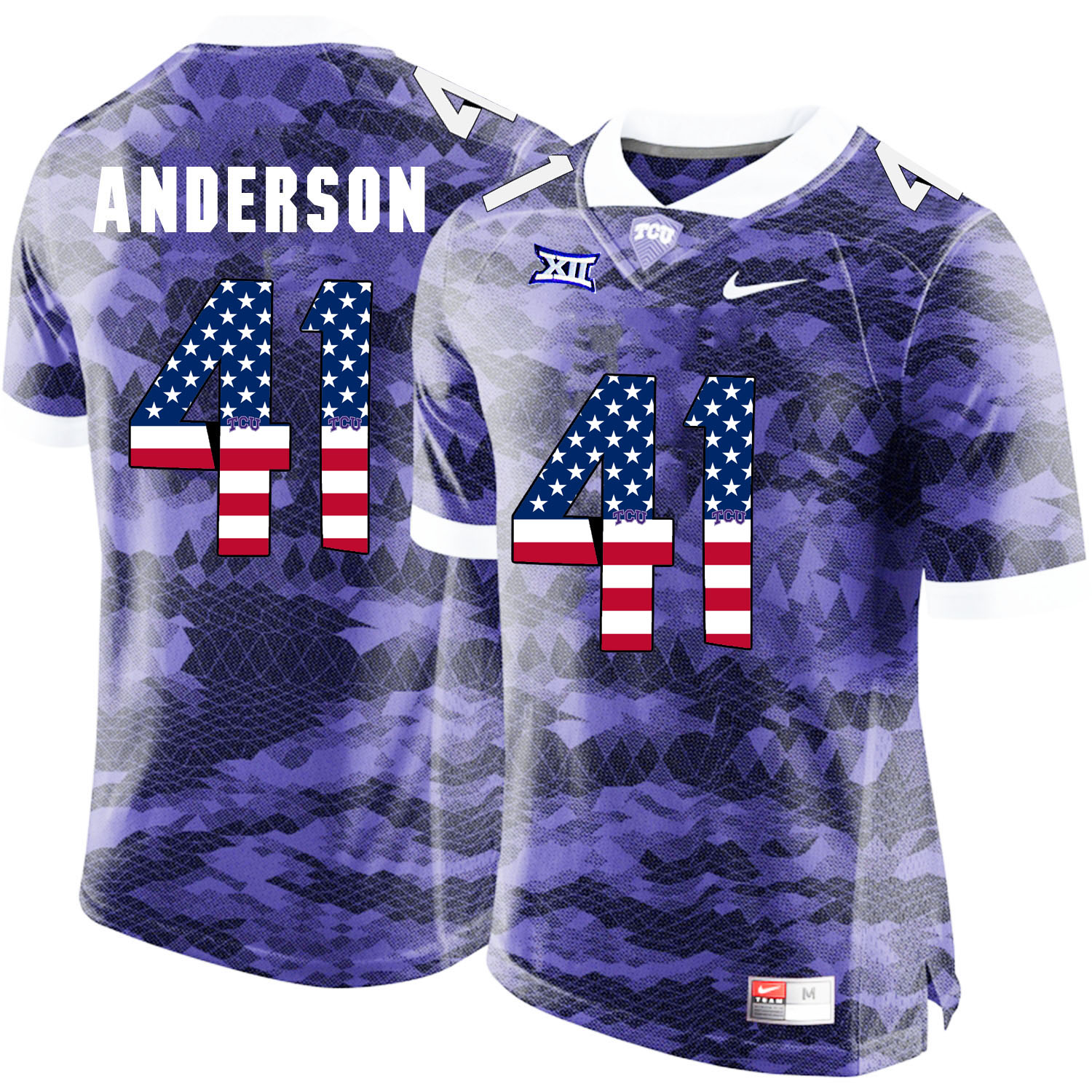 TCU Horned Frogs 41 Jonathan Anderson Purple USA Flag College Football Jersey