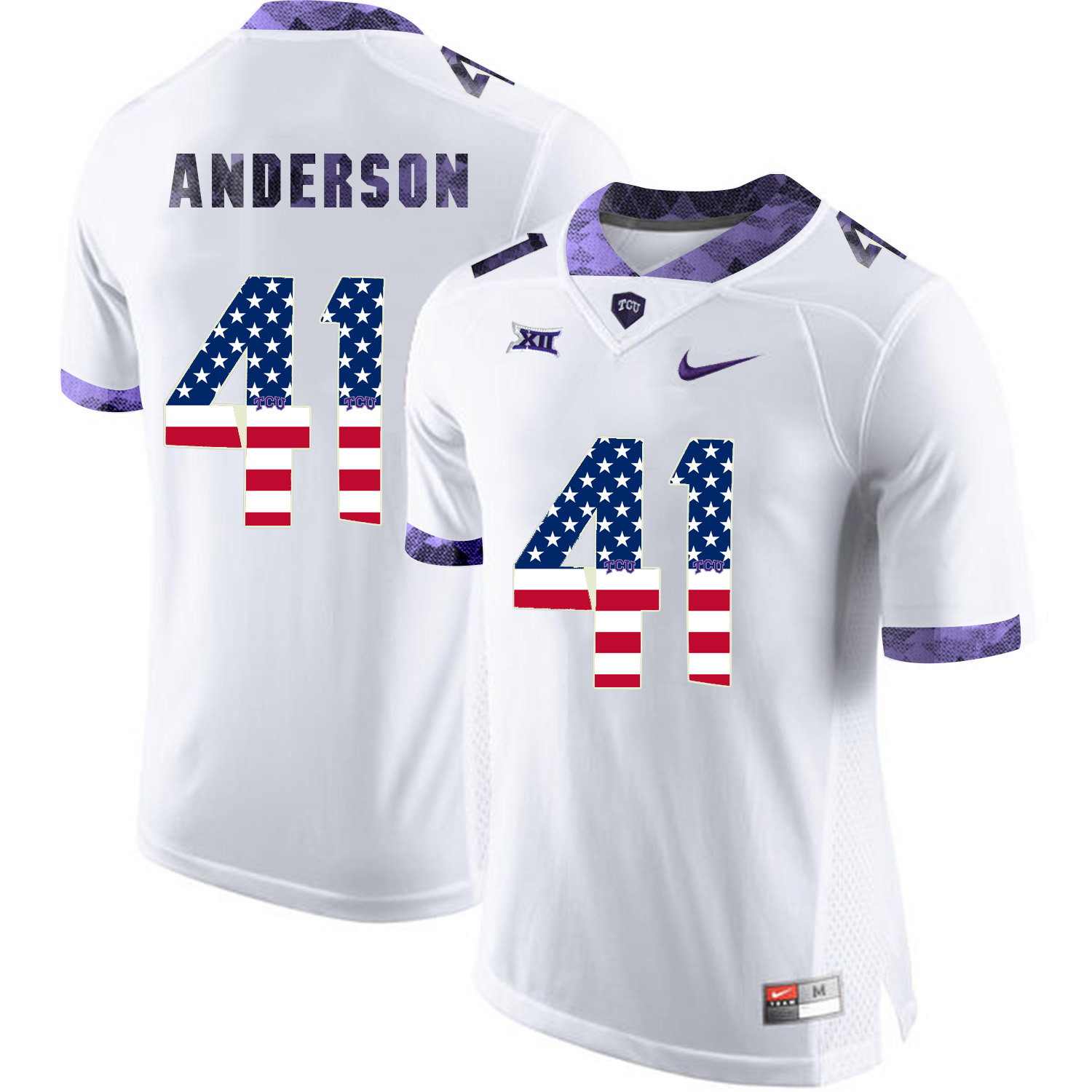 TCU Horned Frogs 41 Jonathan Anderson White USA Flag College Football Jersey