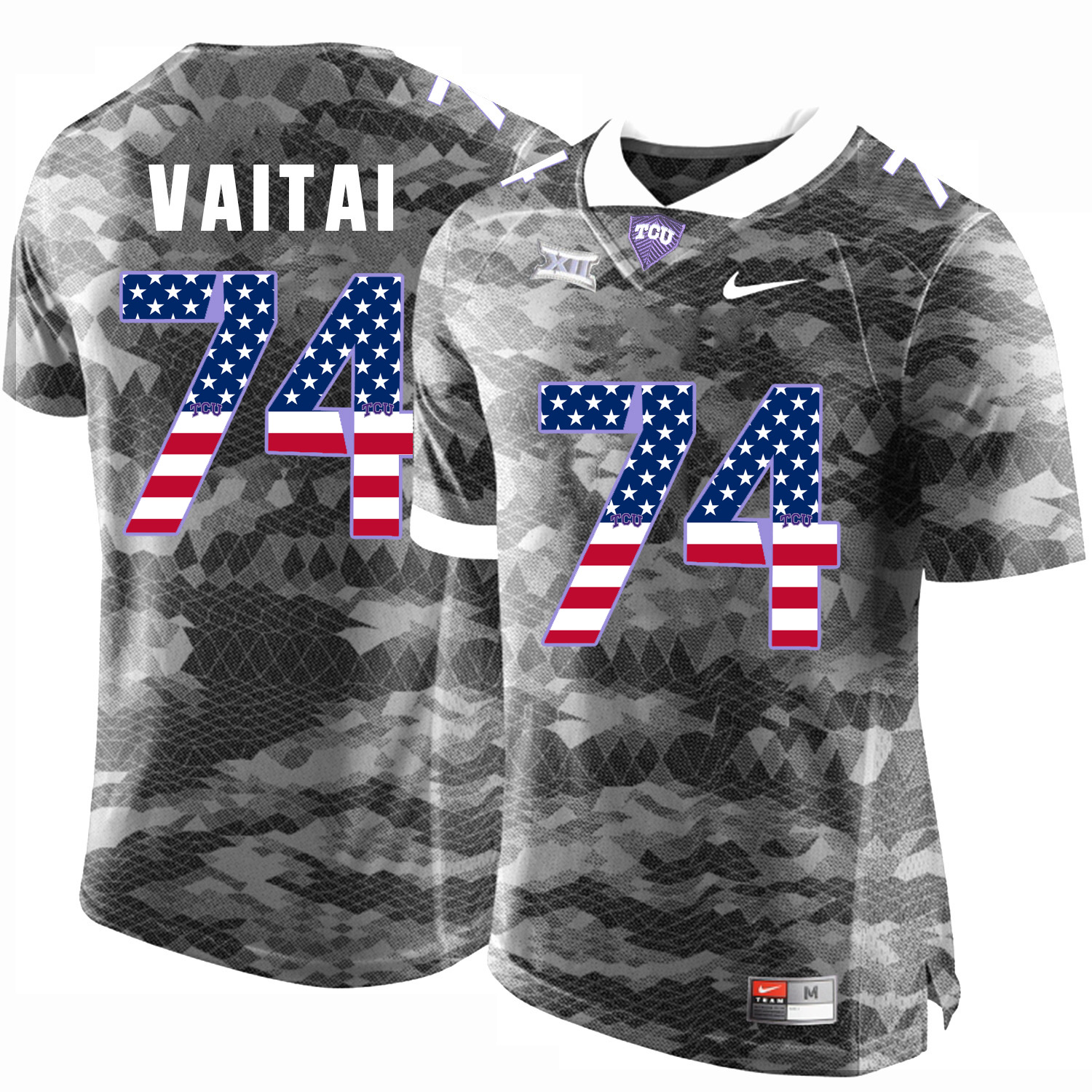 TCU Horned Frogs 74 Halapoulivaati Vaitai Gray USA Flag College Football Jersey