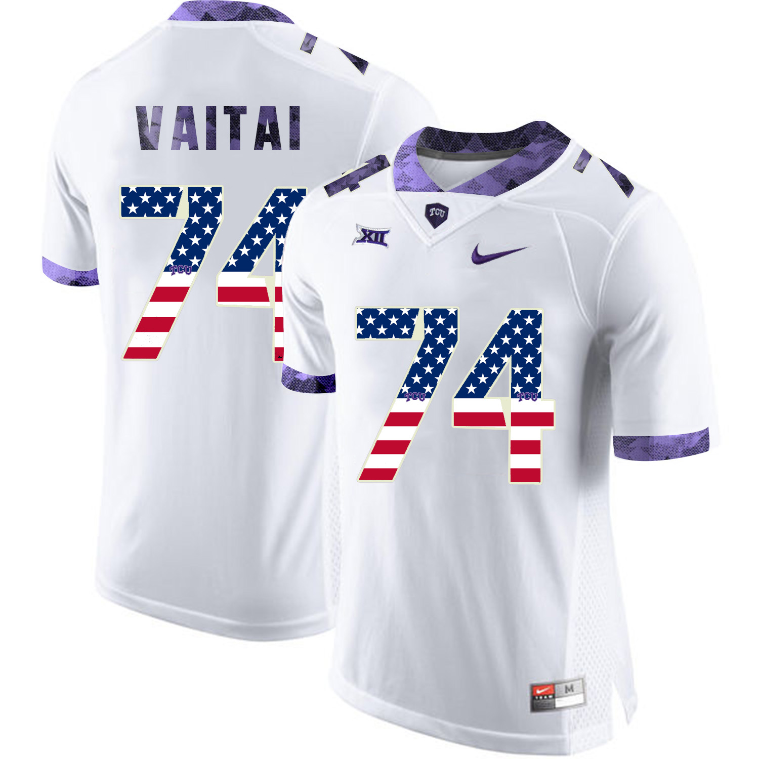 TCU Horned Frogs 74 Halapoulivaati Vaitai White USA Flag College Football Jersey
