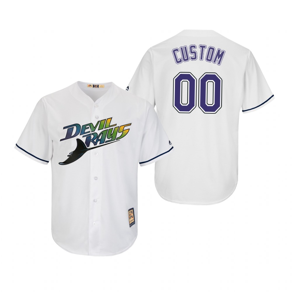 Tampa Bay Rays Custom White Turn Back The Clock Cooperstown Home Cool Base Jersey
