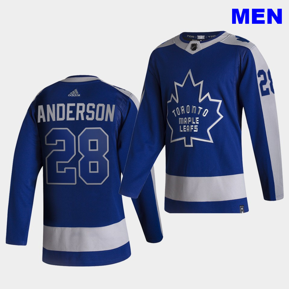 Toronto Maple Leafs #21 Joey Anderson 2021 Reverse Retro Blue Special Edition Authentic Jersey