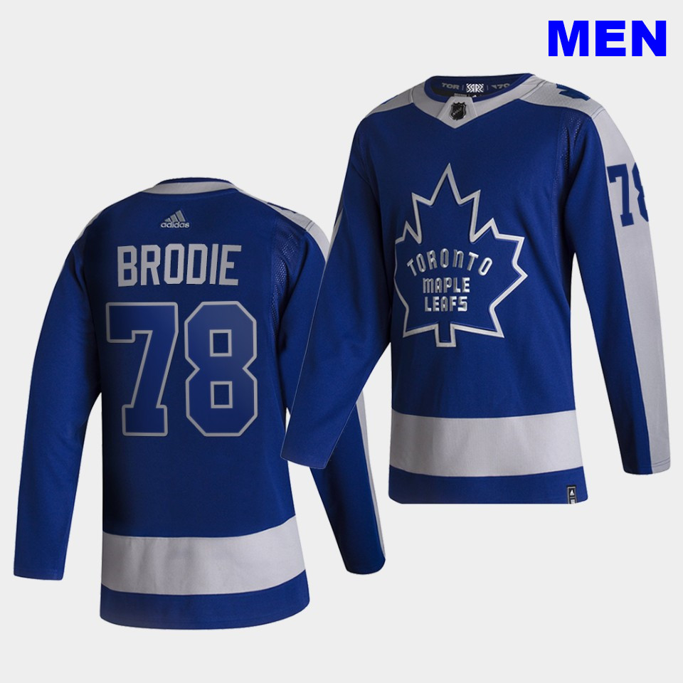 Toronto Maple Leafs #78 T.J. Brodie 2021 Reverse Retro Blue Special Edition Authentic Jersey