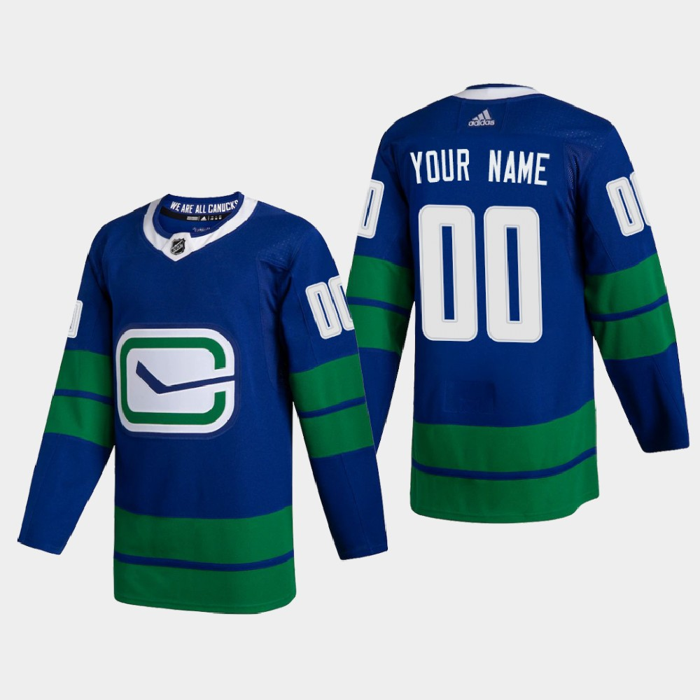 Vancouver Canucks Custom Men's Adidas 2020-21 Authentic Player Alternate Stitched NHL Jersey Blue