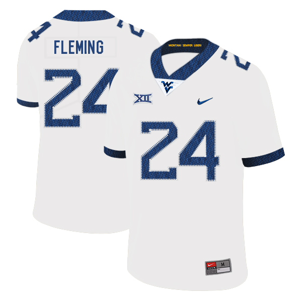 West Virginia Mountaineers 24 Maurice Fleming White College Football Jersey